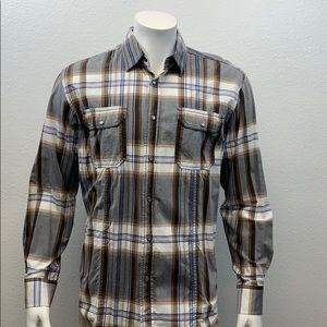 Bugatchi Uomo Shaped Fit Shirt Large Pearl Snaps